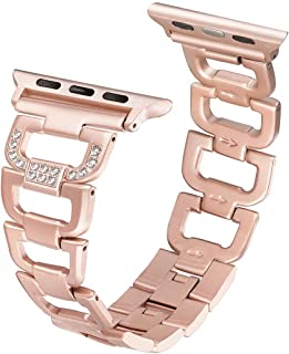 Secbolt Bling Band Compatible Apple Watch Band 38mm 40mm iWatch Series 5, Series 4, Series 3, Series 2, Series 1, Diamond Rhinestone Stainless Steel Metal Wristband Strap, Gold