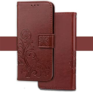 SHUANGRUIYUAN Emboss Favourable Flower Four-Leaf Clover PU Leather Wallet Case with Lanyard Strap for iPhone Xs Max (6.5 Inch) (Color : Brown)