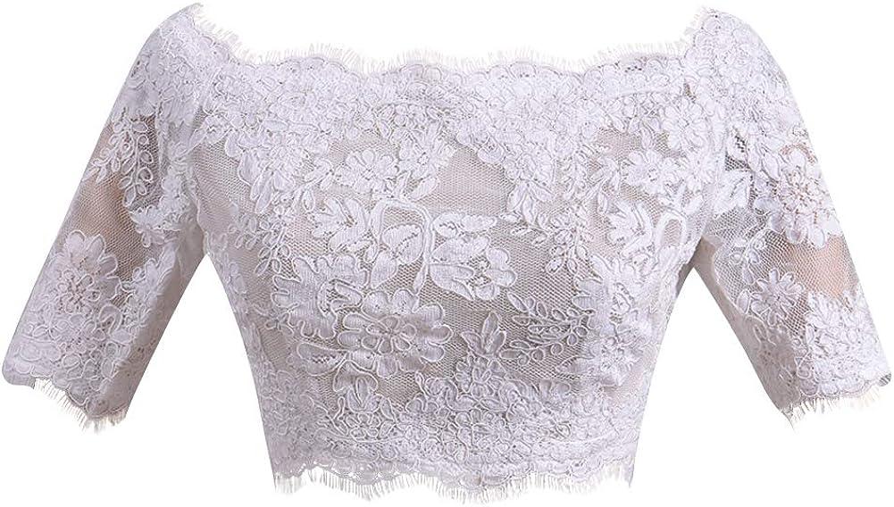 激安挑戦中 H.S.D Womens Off Shoulder Half Wed Appliques 最安値に挑戦 Lace Sleeves Jacket