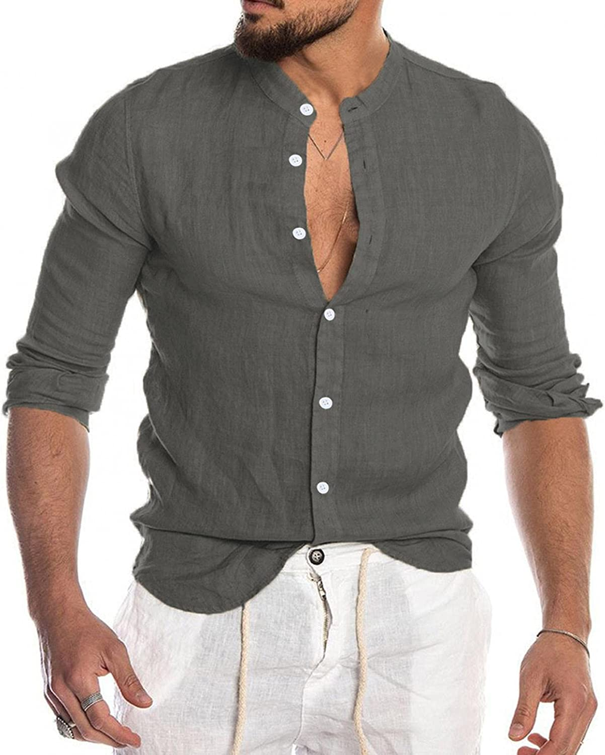 Big and Tall Shirts for Men Stand Collar Button Down Coats Soft Cozy Baggy Linen Outwear Workout Wicking Blouse