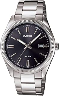 """ساعة للرجال من """"كاسيو"""" بمينا لون اسود، بسوار من الستانلس ستيل - [MTP-1302D-1A1VDF]"""