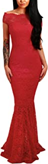 Womens Sexy Off Shoulder Bardot Lace Evening Party Bodycon Fishtail Maxi Dress