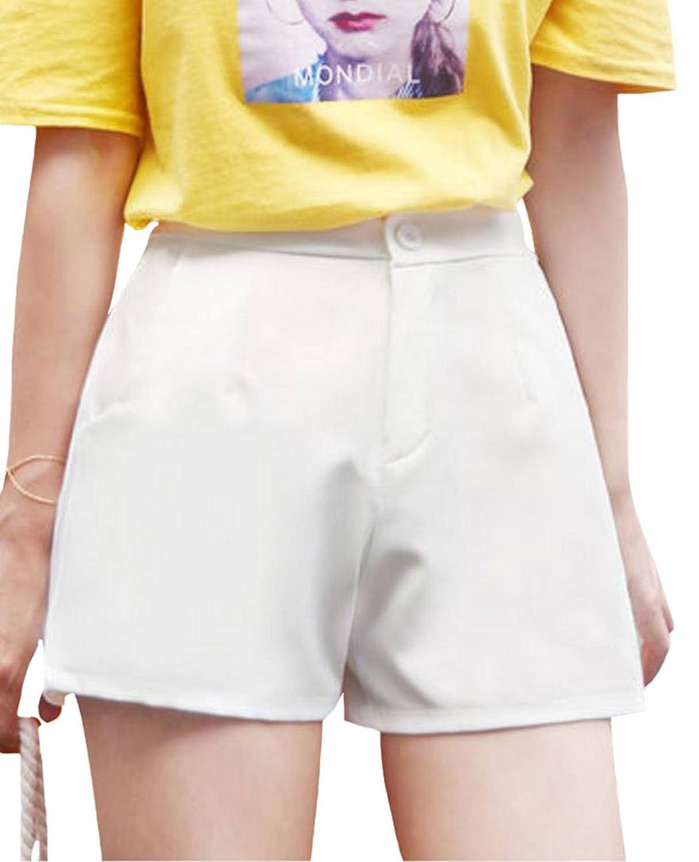 EHAME ショートパンツ レディース ワイドパンツ 無地 シフォン 夏 短パン ハイウエスト Aライン ポケット付き ゆったり おしゃれ 大きいサイズ