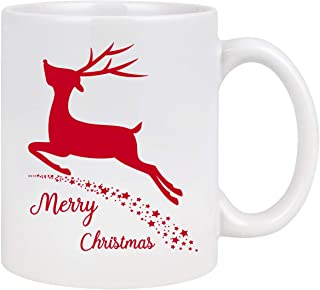 Christmas Coffee Mug Merry Christmas Coffee Cup Reindeer with Stars Holiday Decorative Best Christmas Gifts for Family Friends Coworkers Men Women or Daily Use Ceramic Cup 11 Ounce