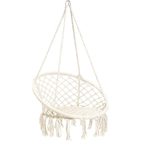Beige Boho Style Rattan Chair Hanging Macrame Hammock Swing Chairs for Indoor//Outdoor Home Patio Porch Yard Garden Deck N/&M Products Hammock Chair Macrame Swing 265 Pound Capacity