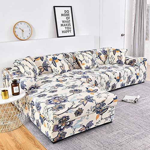 WXQY La Funda de sofá Impresa se estira elásticamente, es Necesario Pedir 2 Piezas de sofá en Forma de L. Funda para sofá de salón A21 4 plazas