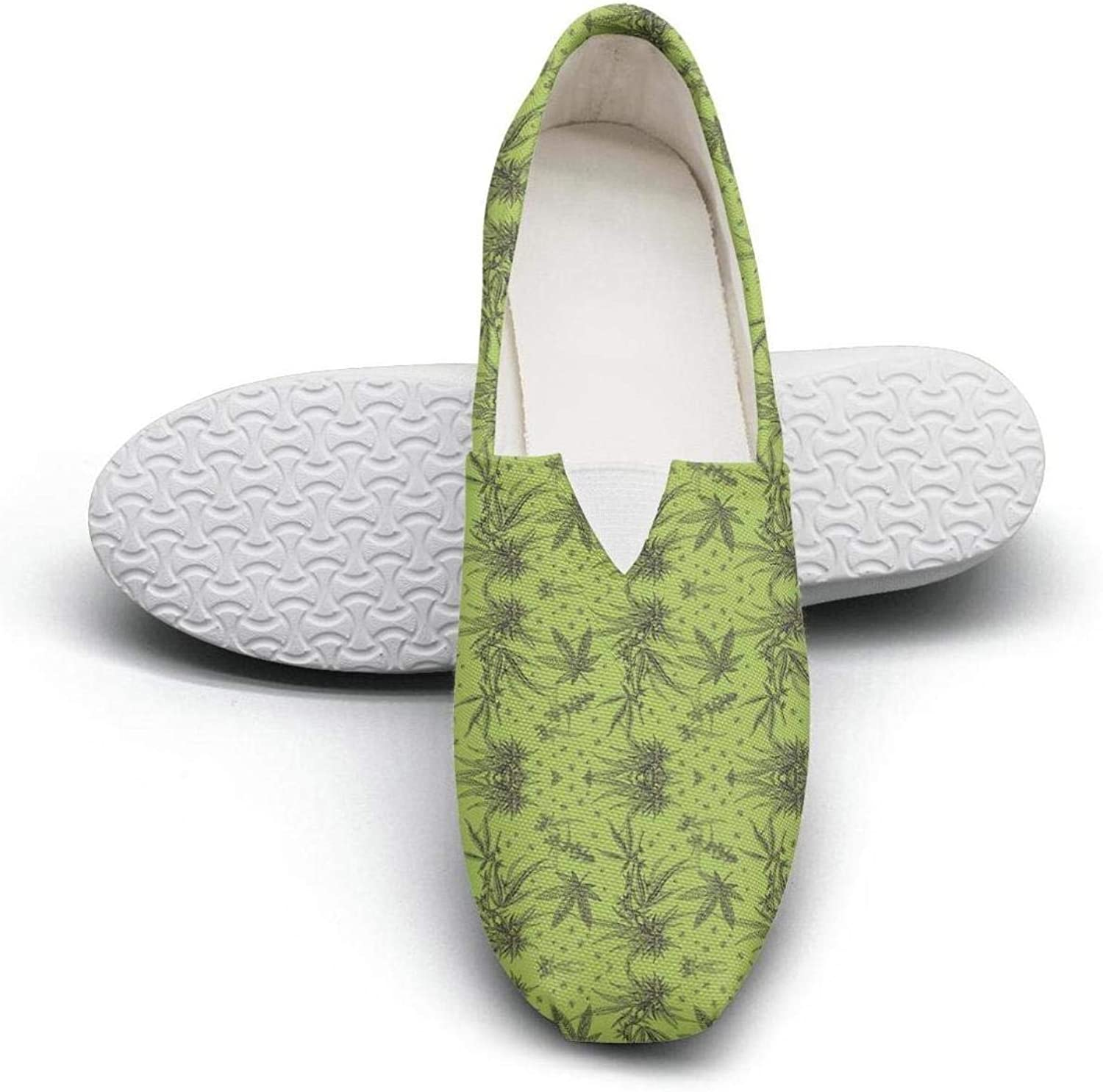 Women's Cotton Espadrille Green Marijuana Pills Flat shoes