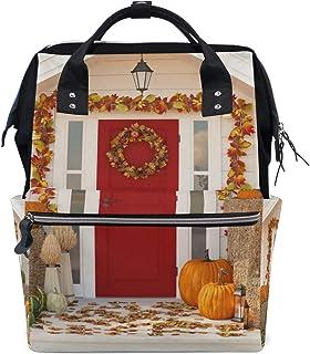 Laptop Backpack, 3D Autumn House Pumpkins Hay Diaper Bag Backpack Travel Backpack for Women and Men