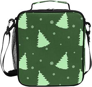 Sac à déjeuner isotherme vert avec sapins de Noël - Sac fourre-tout carré portable - Grande capacité - Pour voyage, pique-...