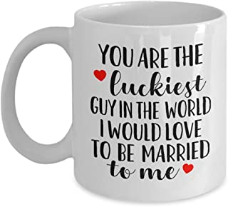 MyCozyCups Funny Gift for Husband - You're The Luckiest Guy in The World Coffee Mug - 11oz Sarcastic Romantic Love Gift for Valentine's Day, Best Couples, Married, Anniversary, Christmas