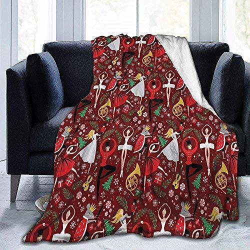 L.R.D Nussknacker Balletttanz Weihnachten Weihnachten Flanelldecke Weiche, warme Decke Premium-Schoßdecke Robuste Sofadecke Sherpa-Decke