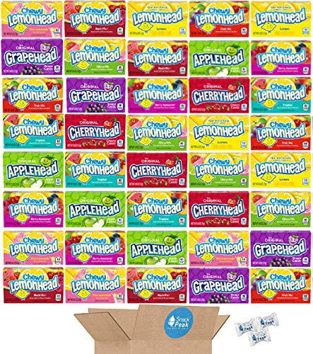 Lemonheads Snack Peak Variety Gift Box – Lemonhead, Applehead, Grapehead, Cherryhead, Fruit Mix, Tropical, Berry Awesome, Redrific, Citrus Mix, Pink Lemonade