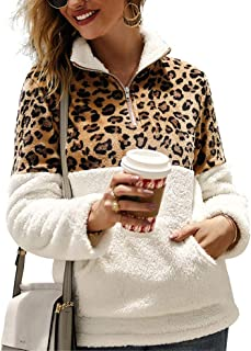 Sherpa Pullover Womens Sweatshirt Leopard Print Color Block 1/4 Zip Fleece Jacket Outwear with Pockets
