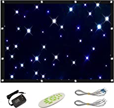 GBGS Blue White Star Curtains LED Cloth DJ Stage Backdrop Remote, Splicable, Auto/Strobe(9 Variations), 56 LEDs, Romantic, Foldable for Children, Christmas, Halloween, Birthday Party, 4.9x3.9ft