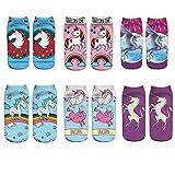 Aipark Lot de 6 Paire Licorne Socquettes Femme, 3D Impression Chaussettes Femme Fantaisie, Taille Unique EU 35-40,Multicolor,Taille unique