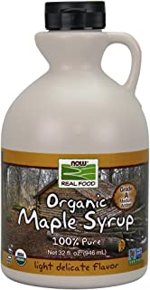 NOW Foods, Certified Organic Maple Syrup, Grade A Amber Color, 100% Pure, Light Delicate Flavor, Certified Non-GMO, 32-Ounce