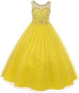Little Girls Yellow Crystal Beading Glitter Tulle Floor Length Pageant Dress 4-6