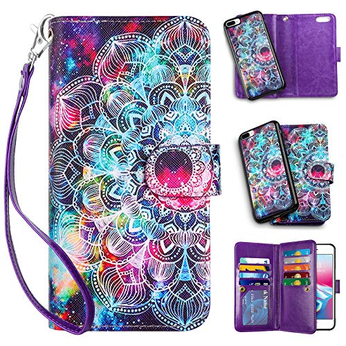 Vofolen 2-in-1 Case for iPhone 8 Plus Case 7 Plus Wallet Card Holder ID Slot Detachable Strap Protective Slim Hard Shell Magnetic PU Leather Folio Pocket Flip Cover for iPhone 8 Plus 7 Plus Mandala