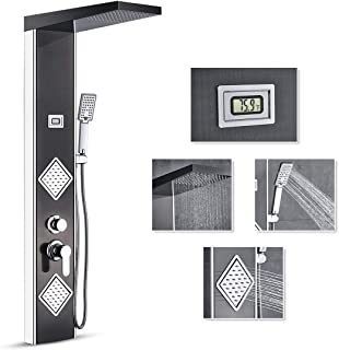 ROVATE Black Rainfall Shower Head Shower Panel System, 2 Body Massages&3-Function handheld shower, Stainless Steel Bathroom Shower Panel Tower with Water Temperature Display, Chrome Finish