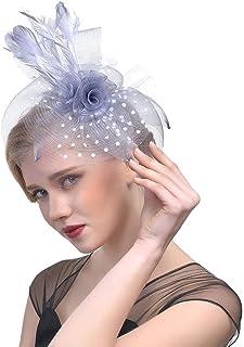 Fascinator Feather Hats Headband,Women Cocktail Tea Party Headwear with Veil Hair Accessory Hair Clip for Derby Kentucky Wedding Headdress,Gray