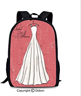 School Kindergarten Backpack, Pink Grunge Backdrop Wedding Bride Dress Party Image, School Bag :Suitable for Men and Women, School, Travel, Daily use, etc.Coral Black and White