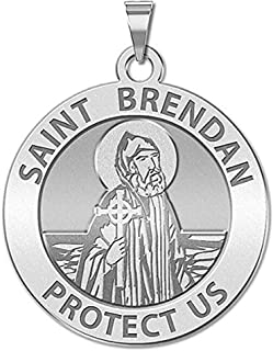 Saint Brendan Religious Medal - - 3/4 Inch Size of a Nickel -Sterling Silver