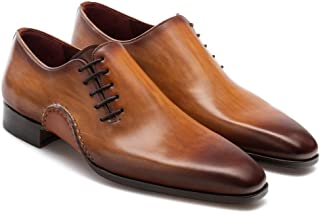 Costoso Italiano Tan Leather Formal Lace Up Oxford Shoes for Men