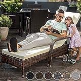 TecTake Polyrattan Gartenliege 6-Fach höhenverstellbar mit gummierten Rädern - 5