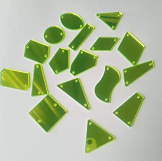 Sew On Neon Yellow Acrylic Mirror Diamante Rhinestone Mirror Beads Crystal Flat Back with Hole for DIY Costumes Wedding Dress Clothing (Neon Yellow, Mix Shapes)