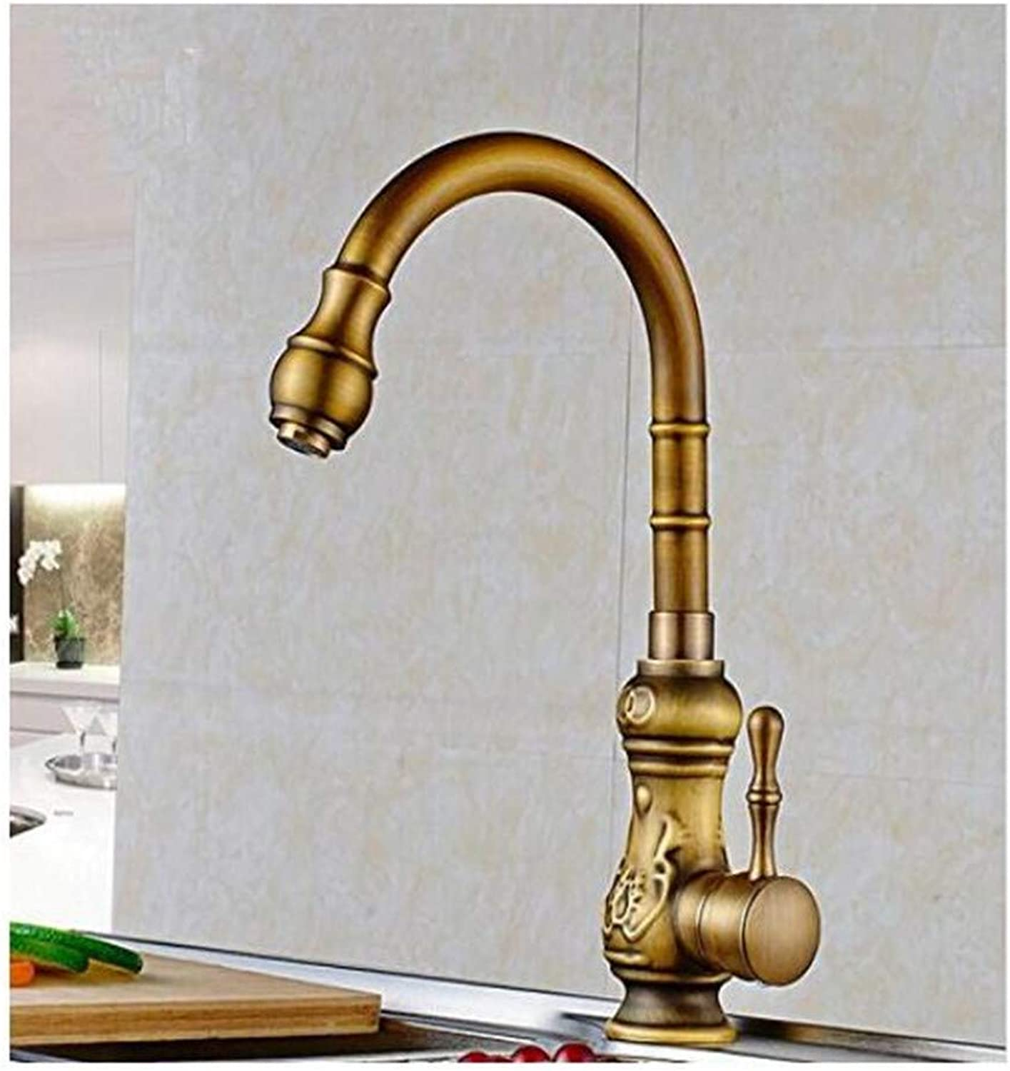 Faucet Kitchen Bathroom Retro Mixer Faucet Kitchen Faucet Antique Brass Bathroom Basin Faucet Swivel Spout Vanity Sink Mixer Tap Single Handle