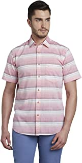 Colorplus Solid Cotton Medium Red Tailored Fit Shirts