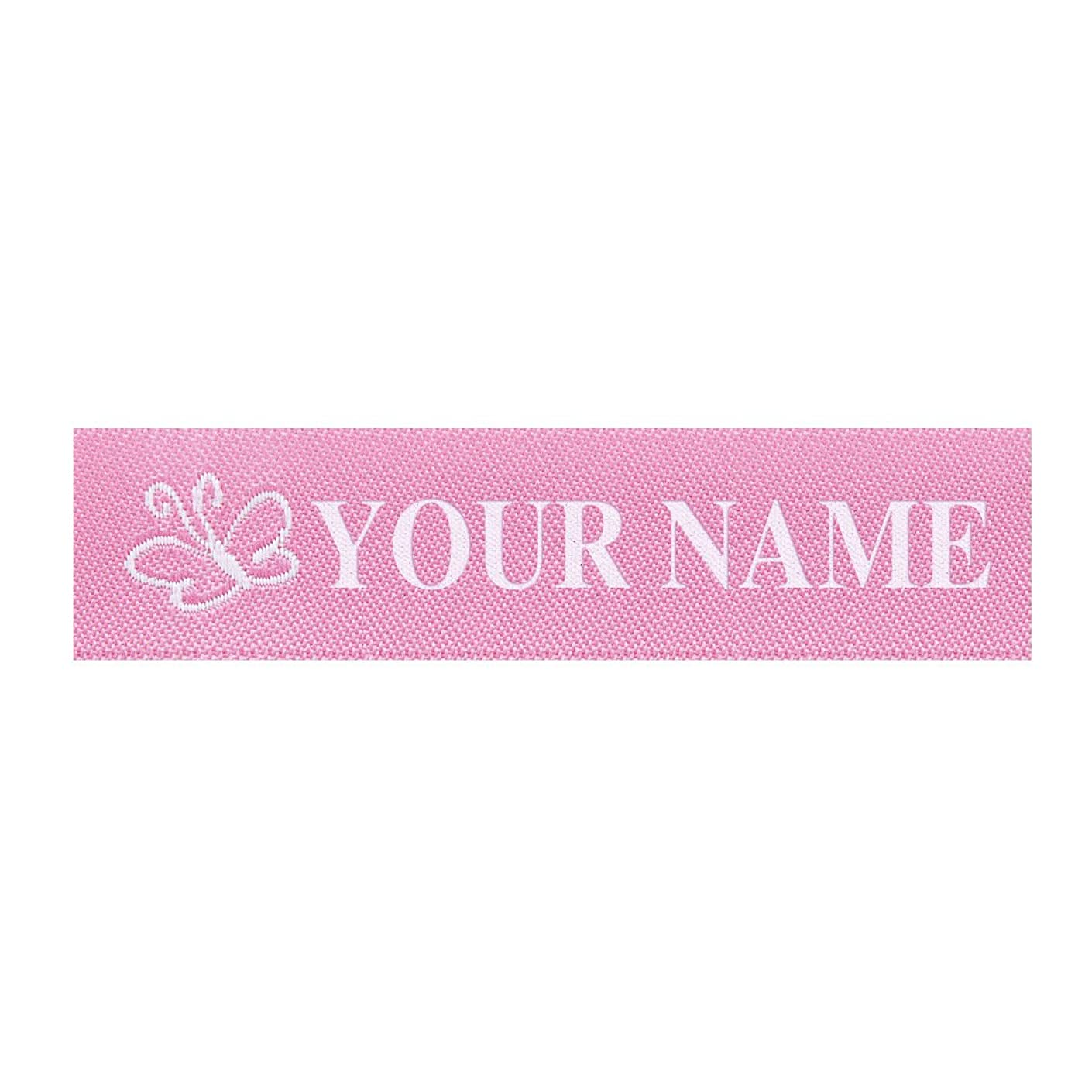 Wunderlabel Standard Woven Label Women Girls Name Tag Aubrey Iron on Art Craft Ribbon Ribbons Decorative Tags on Clothes Clothing Garment Fabric Material Embroidered Labels Tags, White on Pink, 25 qty
