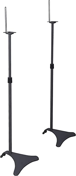 Atlantic Adjustable Height Speaker Stands Set Of 2 Holds Satellite Speakers Adjustable Stand Height From 27 To 48 Inch Heavy Duty Powder Coated Aluminum With Wire Management PN77305018 In Black