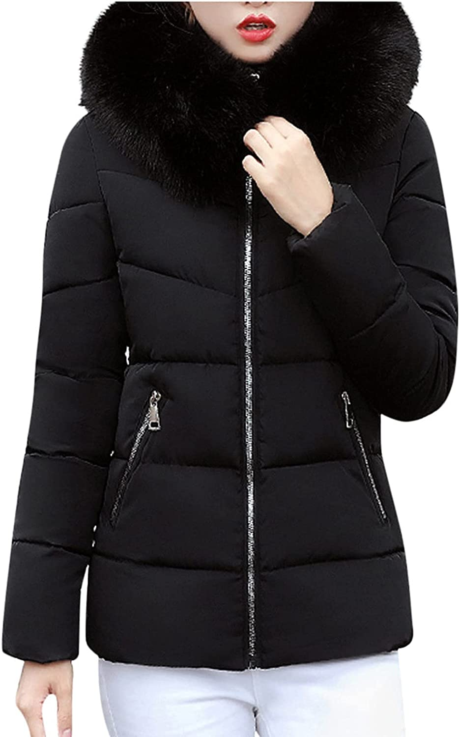 Women's Lightweight Zipper Coats Thicken Down Puffer Jacket Quilted With Pocket Winter Pure Color Overcoats