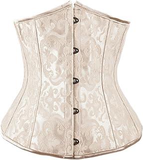 Alivila.Y Fashion Corset Women's Plus Size Brocade Underbust Boned Corset Waist 2686-Cream-6XL