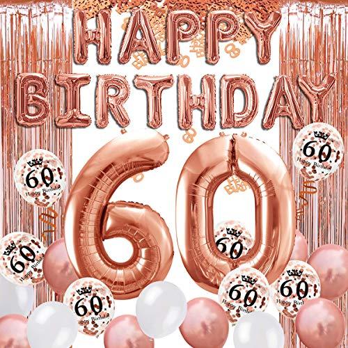 iZoeL 60 ans déco anniversaire or rose, bannière joyeux anniversaire, ballon hélium chiffres 60 XXL, Rideau à Franges or rose confettis latex numéro tableau deco confettis fille femmes