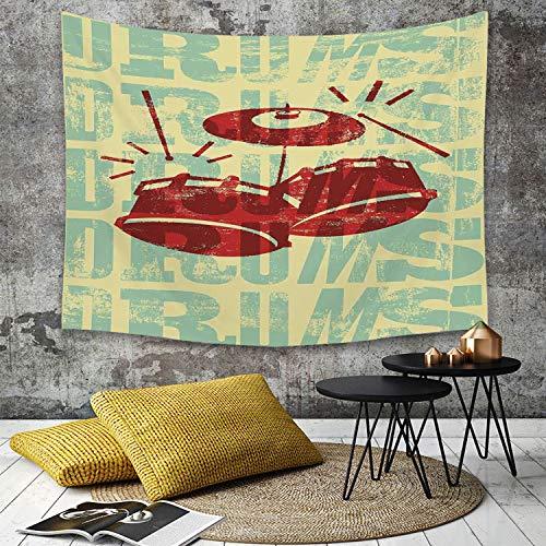 Yaoni Tapestry Pared paño Mantel Toalla de Playa,Vintage Decor, Groovy Drumming Poster Design Percussion Rock Music Instrument Play Vibe,Decoraciones para el hogar para la Sala de Estar Dormitorio