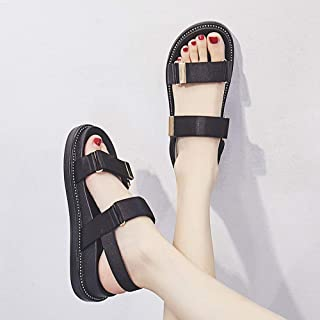 Jamkf Sports Sandals New Fashion Thick Bottom Casual Wild Velcro Women's Beach Shoes Flat Bottom Wading Shoes Outdoor Non-...