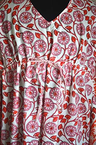 Handicraft Bazar - Vestido largo de manga larga para mujer, de algodón, caftán, corto, kurta maxi, abaya, para la playa, estilo indio, túnica de estilo kimono, túnica tipo kimono, vestido largo pareo
