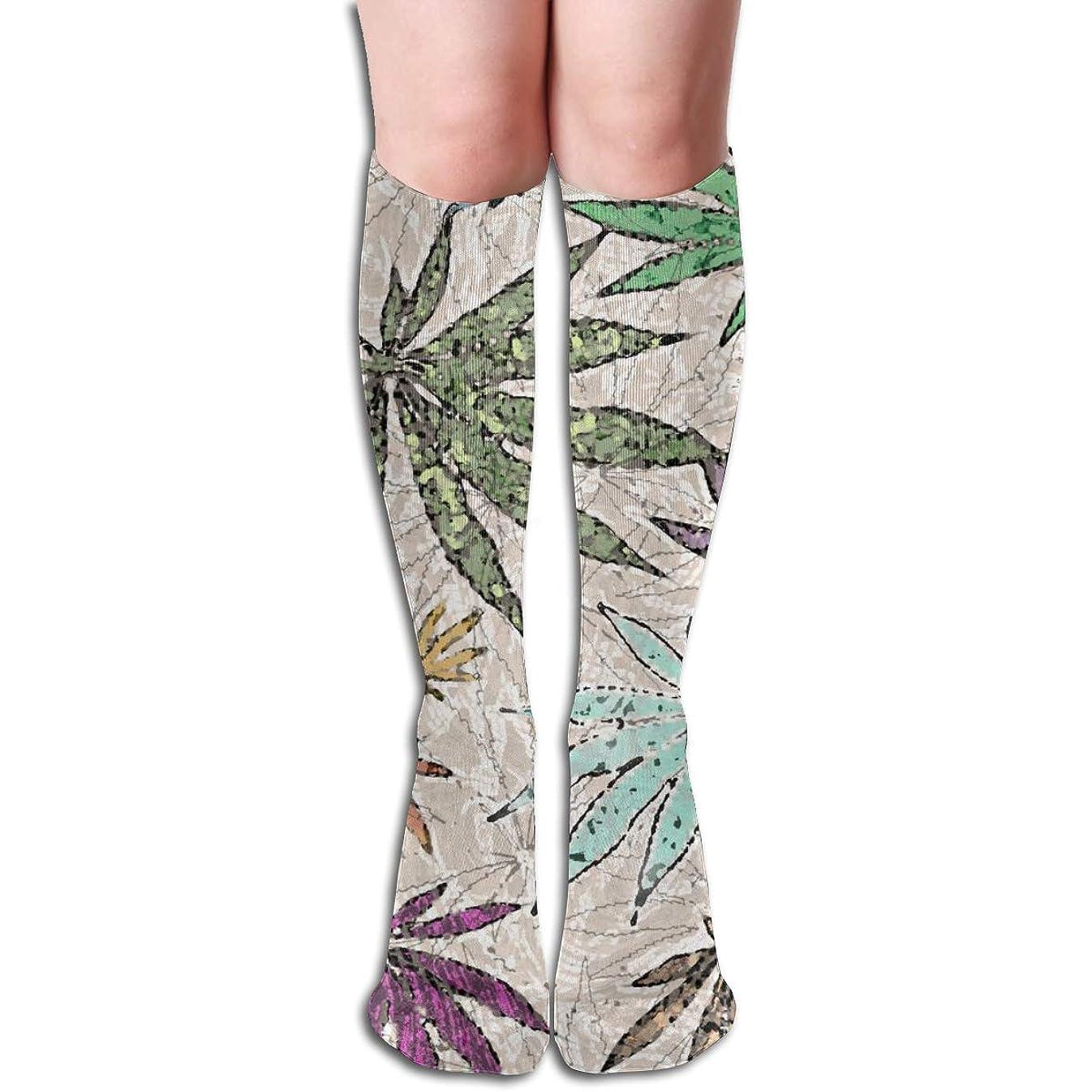 事実チキン言及する色付きのテクスチャポットの葉 長い靴下を実行しているユニセックスニーハイソックススポーツアスレチックスクール