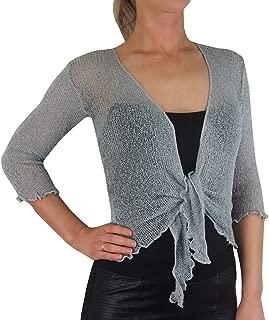 Mimosa Ladies Crochet Glitter and Plain Stretch Lace Fish Net Bali Tie at Waist Bolero Shrug Open Cardigan