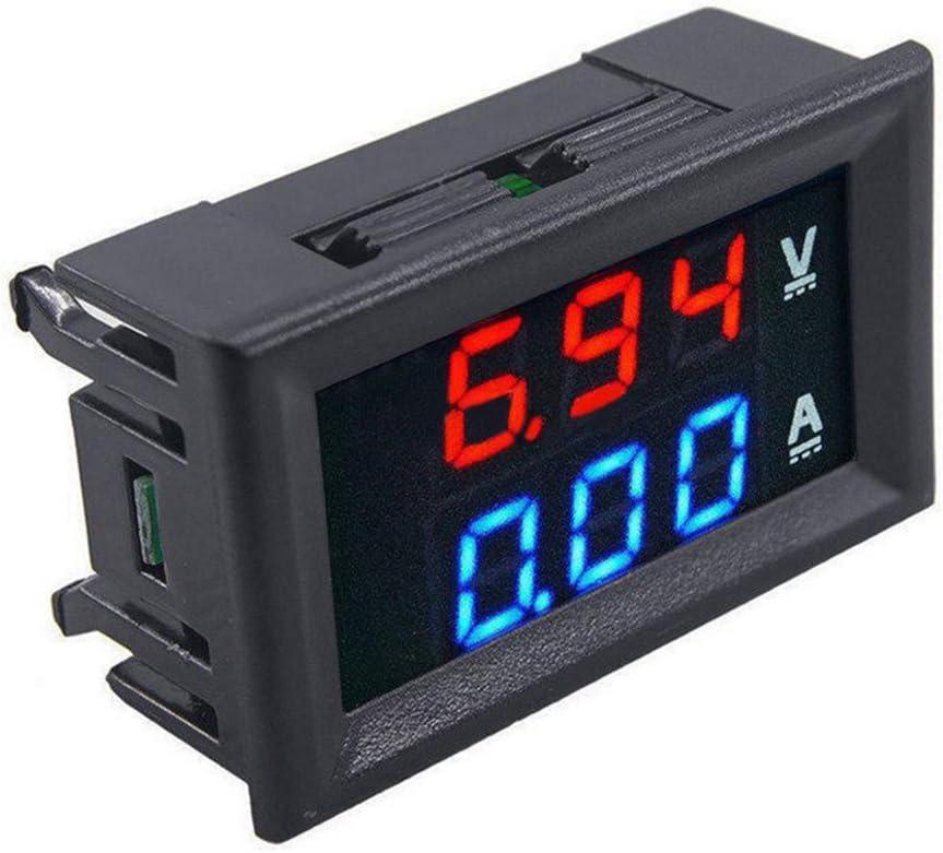 Red LED Dual Digital Volt Amp Meter Gauge DC 100V 10A Voltmeter Ammeter Blue