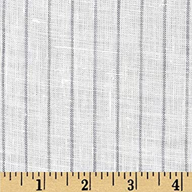 TELIO Tuscany Pinstripe Linen, Yard, Cream/Grey