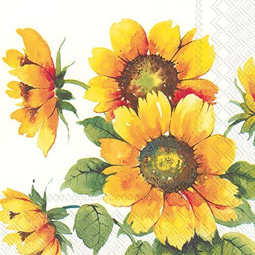 Boston International IHR Papierservietten, 3-lagig, Cocktail, 12,7 x 12,7 cm, bunte Sonnenblumen, 20 Stück
