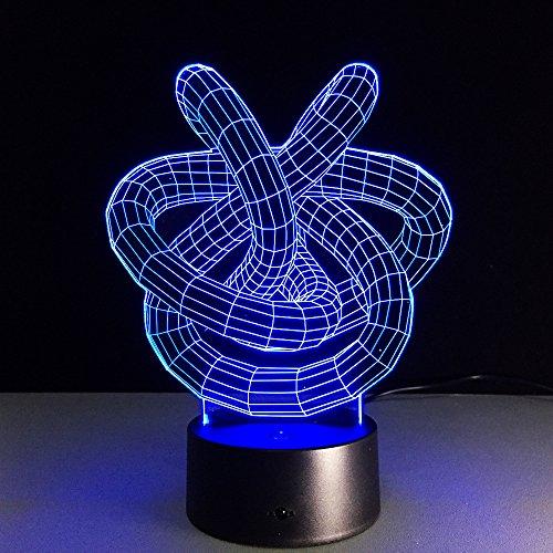 3D Led Nachtlicht Doppelter Liebesknoten-Zusammenfassungskreis Illusion Lampe Kinder Deko Licht Stimmungslicht Nachttischlampe 16 Farben Fernbedienung Ändern Touch Switch Schreibtisch Lampen Geburtst