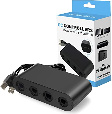 Switch Gamecube Controller Adapter, Super Smash Bros Gamecube Adapter for Nintendo Switch, Wii U and PC USB with 4 Ports - Plug & Play, No Drivers Needed
