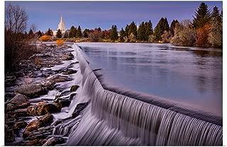 GREATBIGCANVAS Poster Print Idaho Falls Idaho Temple, Waterfalls, Idaho Falls, Idaho by Scott Jarvie 18