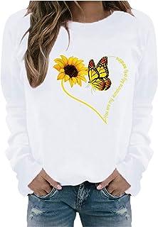 Fenebort Store-AU Womens Casual Sweatshirts Long Sleeve Shirts Tunic Tops Heart Sunflower Butterfly Pattern