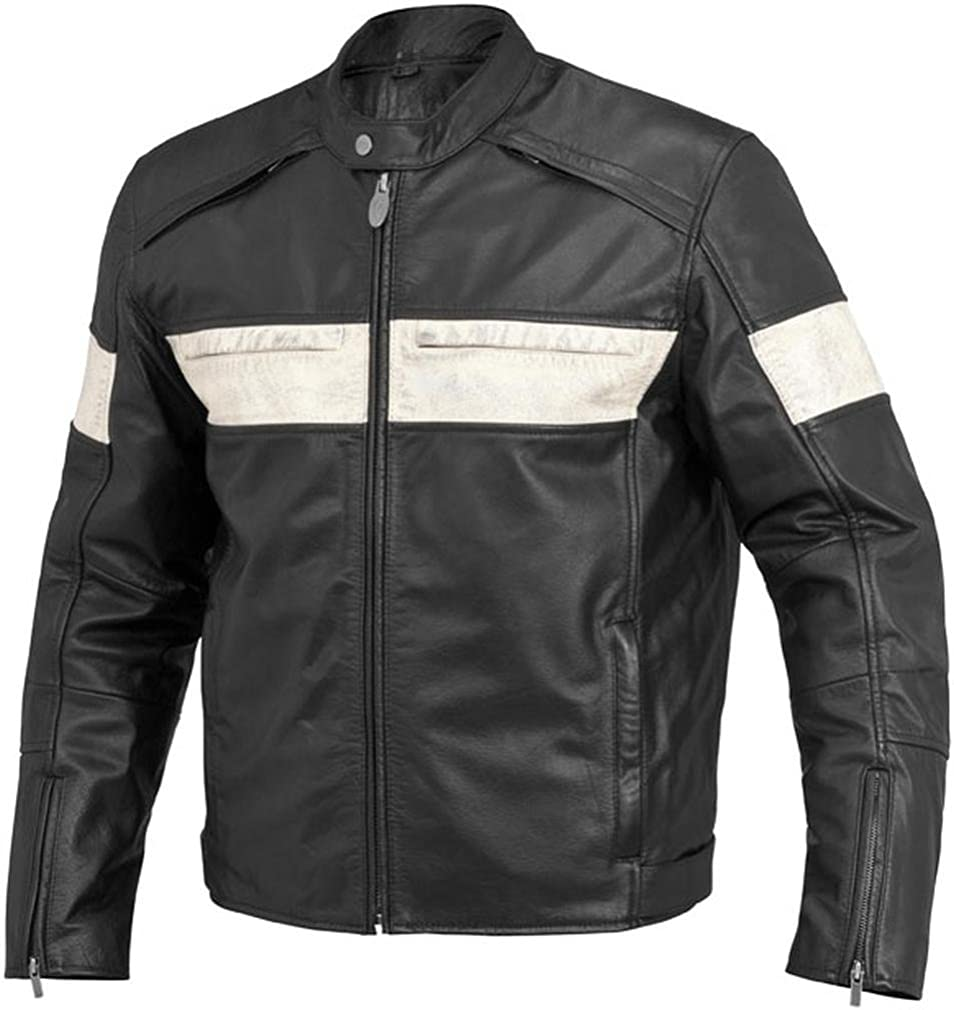 River Road Twin Iron Fixed price for service sale Leather Black - Jacket White Size