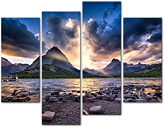 Wall Art Decor Poster Painting On Canvas Print Pictures 4 Pieces Modern Canvas Painting Wall Art Picture for Home Decoration Colorful Sunset Swiftcurrent Lake Glacier National Park Montana